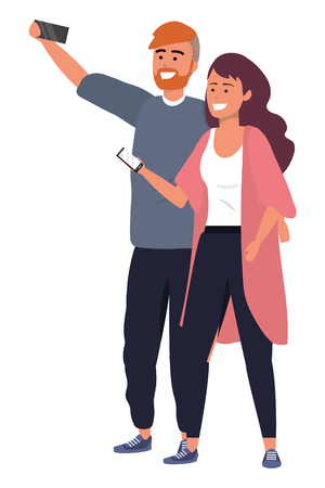 Millennial couple using smartphone taking selfie embracing smiling happy redhead dyed hair vector illustration graphic design