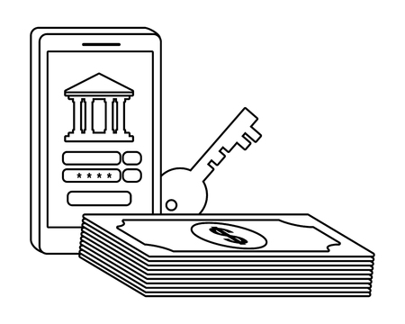 Digital banking services online tools currency deposit electronic transaction smartphone password security black and white vector illustration graphic design