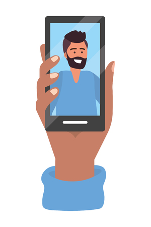 Hand holding smartphone tech video call live chat vector illustration graphic design