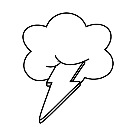 cloud and lighting icon cartoon black and white vector illustration graphic design