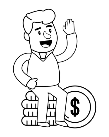Consumer banking operations happy jovial smiling waving hello coin stack client isolated black and white vector illustration graphic design