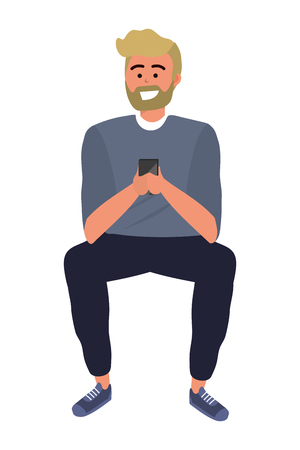 Millennial person stylish outfit sitting using smartphone texting bearded blond isolated vector illustration graphic design 矢量图像