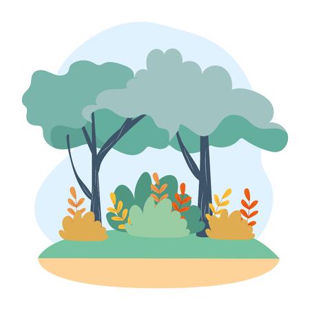 arbres de la nature avec des branches, des feuilles et des buissons illustration vectorielle