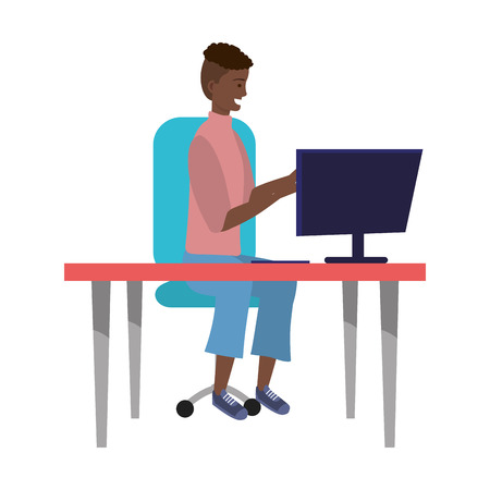 Tysiąclecia stylowy strój siedzący w biurku przy użyciu grafiki wektorowej smartfona zwlekania z ilustracją