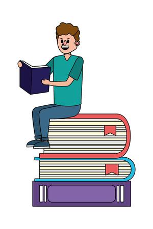education man reading book over books cartoon vector illustration graphic design Ilustracja