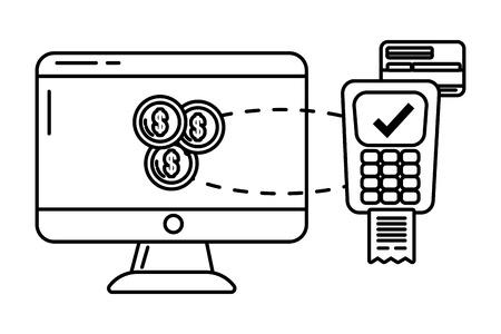 saving money business accounting finance technology digital payment elements cartoon vector illustration graphic design