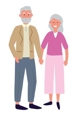 coppia di anziani avatar personaggio dei cartoni animati illustrazione vettoriale graphic design