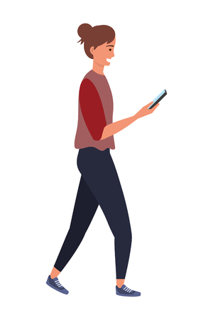 Millennial person using smartphone texting checking social media sweater vector illustration graphic design