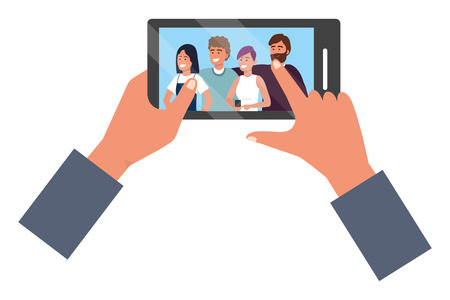 Hands holding smartphone app video call friends group smiling happy together bearded vector illustration graphic design Vectores