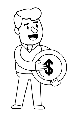 Consumer banking operations happy jovial smiling holding coin client isolated black and white vector illustration graphic design Ilustração