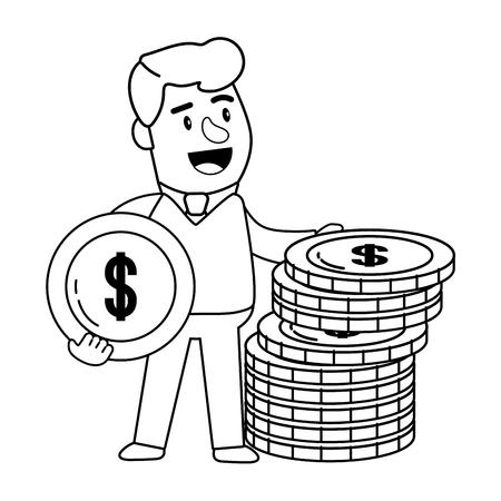 Consumer banking operations happy jovial smiling coin stack client black and white vector illustration graphic design Banco de Imagens - 122501391