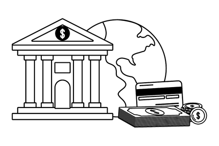 Currency money bill stack bank front credit card globe worldwide service black and white vector illustration graphic design Stock Illustratie