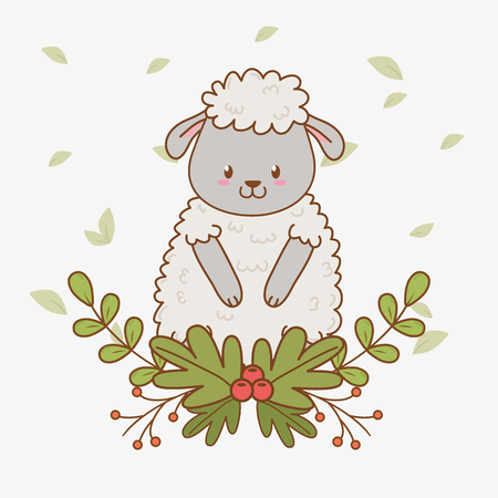 cute sheep woodland character vector illustration design Foto de archivo - 122501436