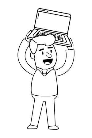 Consumer banking operations happy jovial smiling holding laptop client isolated black and white vector illustration graphic design Ilustração