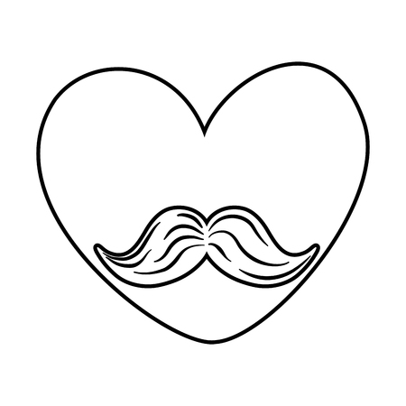 heart with moustache icon cartoon black and white vector illustration graphic design