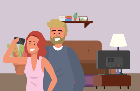 Millennial couple indoors room lamp background selfie living room television and couch redhead bearded blond vector illustration graphic design Illustration