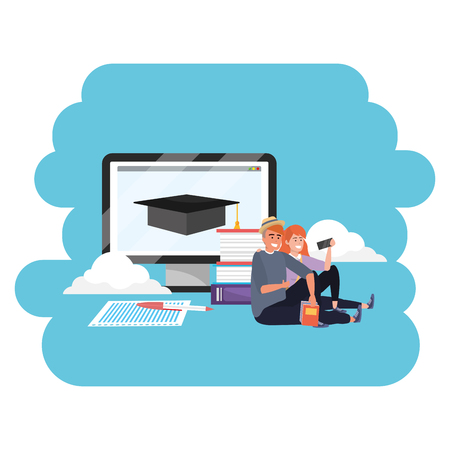 Online education millennial young student couple laptop clouds search career graduation vector illustration graphic design
