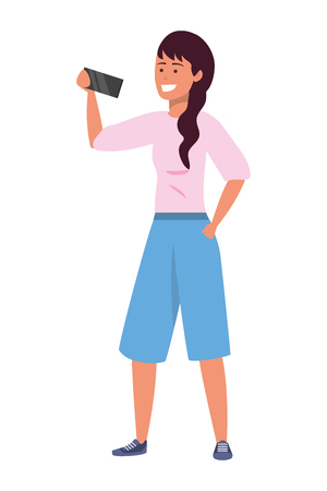 Millennial person stylish outfit using smartphone taking selfie texting caucasian isolated vector illustration graphic design