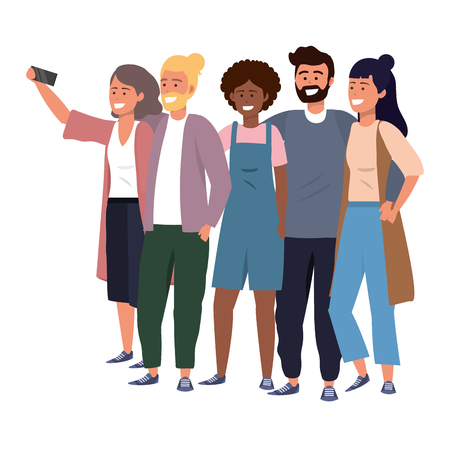 Millenial diverse group taking selfie smiling happy together wearing sweaters bearded overalls afro vector illustration graphic design