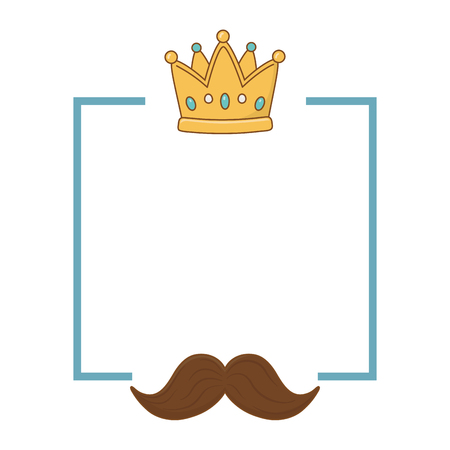 crown and moustache frame icon cartoon vector illustration graphic design