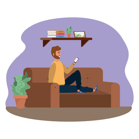 Millenial person sitting in couch using smartphone social media bearded procrastination indoors background frame vector illustration graphic design