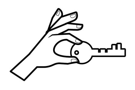 security icon key cartoon vector illustration graphic design