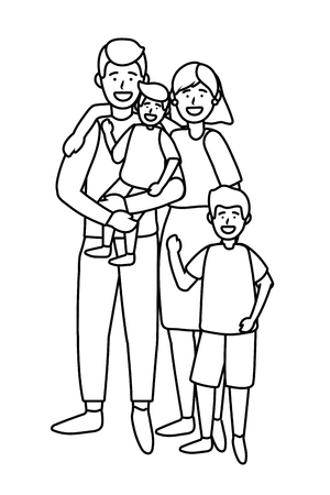 couple with children avatar cartoon character vector illustration graphic design