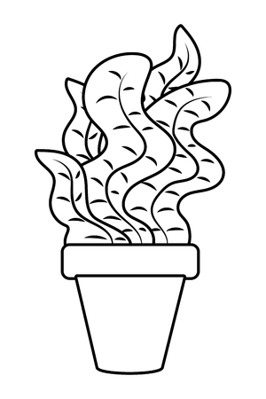 plant pot icon cartoon black and white vector illustration graphic design