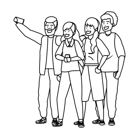 Millennial diverse group taking selfie smiling happy together wearing sweaters black and white vector illustration graphic design