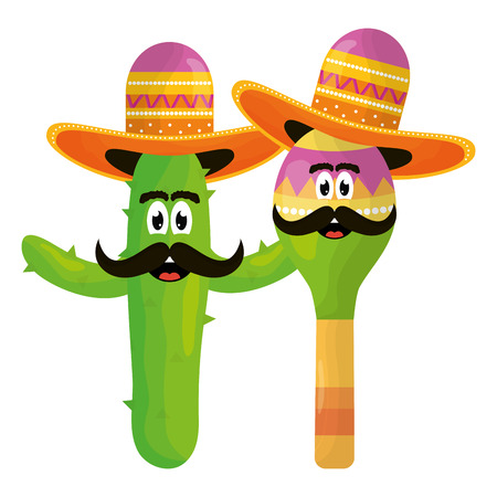 mexican cactus and maraca emoji characters vector illustration design