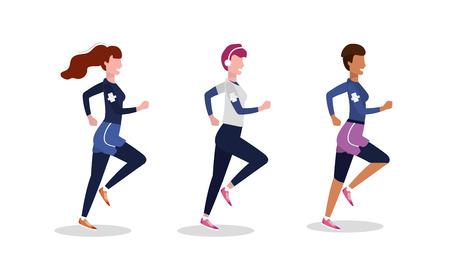set women practice running exercise vector illustration
