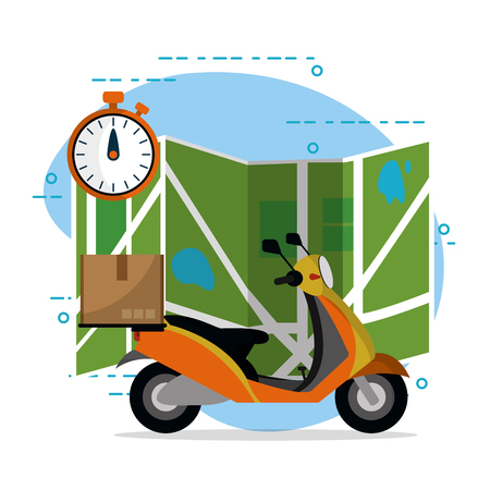 mail delivery service order scooter vector illustration graphic design