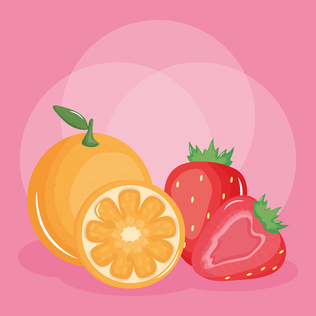 fresh strawberry and oranges fruits vector illustration design
