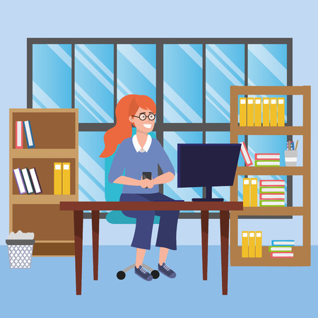 Student redhead woman wearing glasses sitting in library study room desk with background window and book shelves with computer using smartphone background vector illustration graphic design