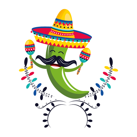 mexican culture festival pepper with mariachi mexico elements cartoon vector illustration graphic design