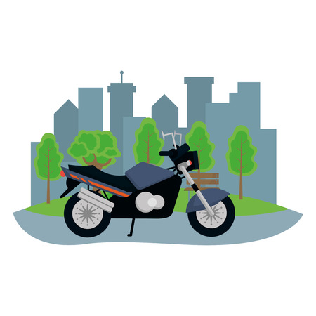 transportation concept motorcycle in front city landscape cartoon vector illustration graphic design