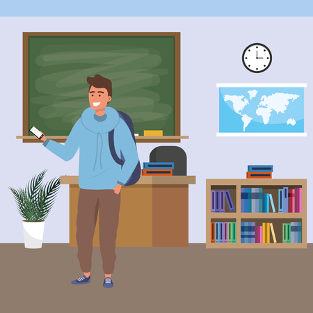 Millennial student man wearing hoodie using smartphone indoors classroom background with blackboard map clock and bookstand vector illustration graphic design