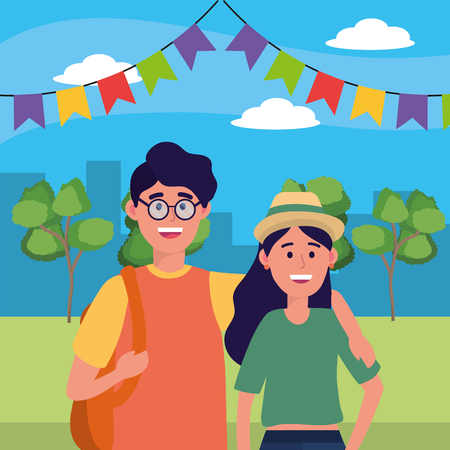 young people friends couple enjoying at nature park with party pennants cartoon vector illustration graphic design