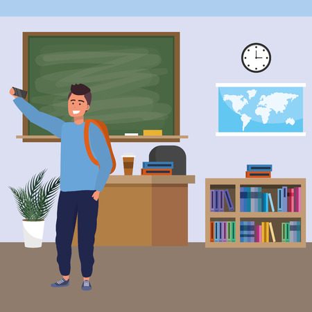 Millennial student man wearing backpack using smartphone indoors classroom background with blackboard map clock and bookstand vector illustration graphic design Ilustracja