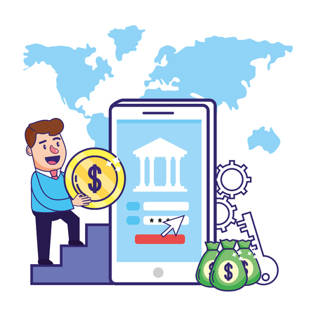 Businessman banking financial planning holding coin smatphone security password money bags vector illustration graphic design Çizim