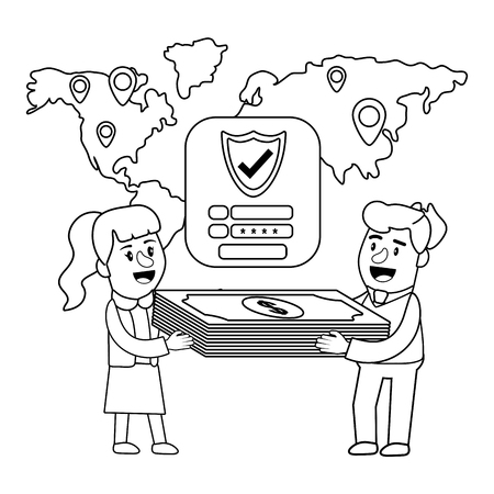 Banking teamwork financial planning worldwide locations currency money bill stack security password black and white vector illustration graphic design Illustration