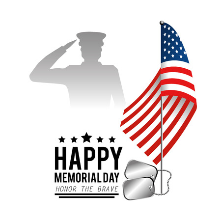 usa flag with military man and stars to memorial day vector illustration