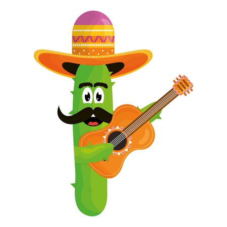mexican cactus with hat and guitar comic character vector illustration design