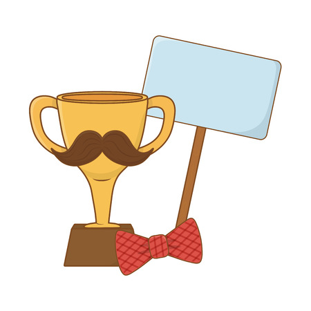 trophy with moustache bow tie and signboard icon cartoon vector illustration graphic design Ilustração