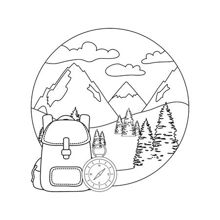 compass guide with pines forest and travelbag vector illustration design