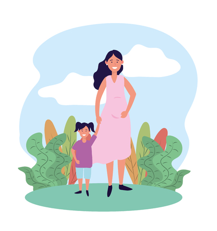 cute woman mother with her daughter and plants vector illustration