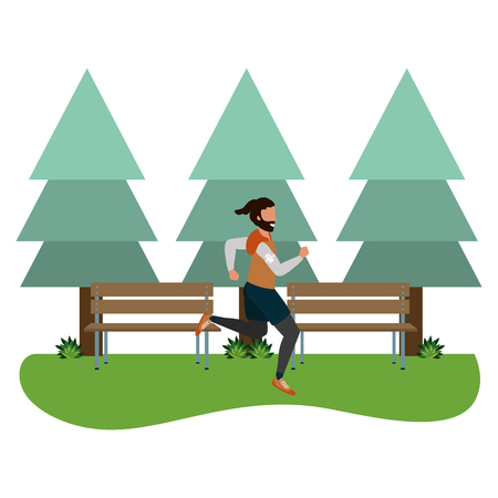 Fitness sport train man running scène en plein air cartoon vector illustration graphic design