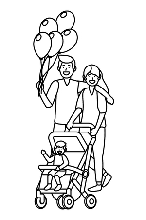 couple with baby carriage avatar cartoon character with children vector illustration graphic design