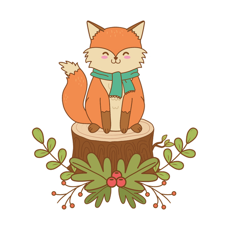 cute fox woodland character vector illustration design