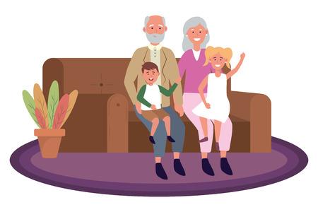 Pareja de ancianos con niños avatar personaje de dibujos animados con conejito sentado en un sofá ilustración vectorial diseño gráfico Ilustración de vector